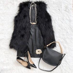 Black Rivet Faux Fur Vest